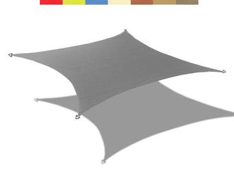 Custom Sized  Waterproof Woven Sun Shade Sail in Vibrant Colors - Grey