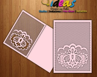 Wedding invitation card, XV card, wedding invitation, laser cut, files (svg, dfx, ai, corel), Laser Cut, Silhouette Cameo