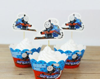 24 Thomas The Train Cupcake or Muffin Toppers and Wrappers. Party toppers and wrappers. Colorful wrappers.