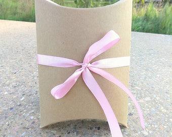 25 Meduium Brown Kraft Pillow Boxes. Wedding Favors. 4.5x4.5x1.5