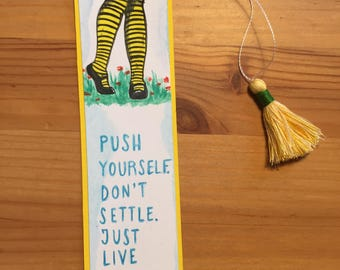 "Like at least a half year with handmade tassel bookmark / medium / yellow / ""you before me"" bookmark / quote bookmark / gift for readers"