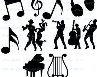 70% OFF, Notes SVG, Musicians Silhouette png, eps, svg, dxf, Musicians Clipart, Dancers svg Files, Dancer Vinyl, Dancer Vector files