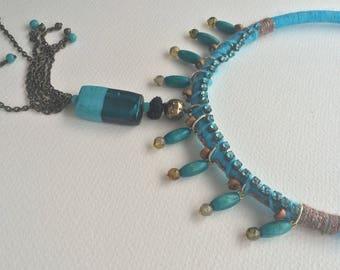 Sky blue unique handmade necklace