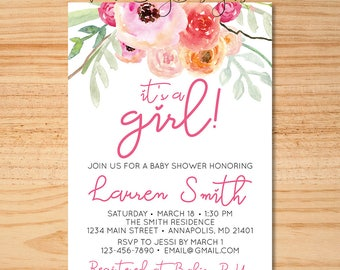 It's A Girl Baby Shower Invitation, Floral Baby Shower Invitation, Pink Baby Shower, Watercolor Floral Shower Invite, Shabby Chic Invitation