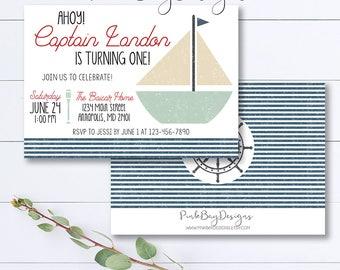 Ahoy Birthday Invitation, Nautical Boy Birthday Invitation, Nautical Invitation, Ahoy Invitation, Sailboat Invitation, Nautical Birthday
