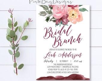 Burgundy Floral Bridal Brunch Invitation, Floral Bridal Brunch Invitation, Bridal Shower Invitation, Watercolor Bridal Shower Invite, Floral