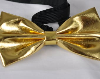Mens PVC Faux Leather SOLID Gold Golden Shining Bow Tie Bowties Wedding Party