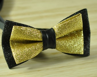 Men Black and Gold Faux Leather Double Layers Shining Bow tie Bowtie Party Wedding