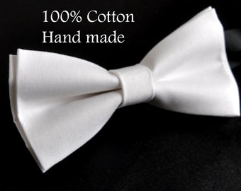Unisex Men 100% Cotton Quality WHITE MATTE Solid Color Handmade Bow Tie Bowtie Craft Wedding Party