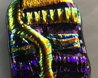 Wearable Art Fused Dichroic Glass Pendant  #180