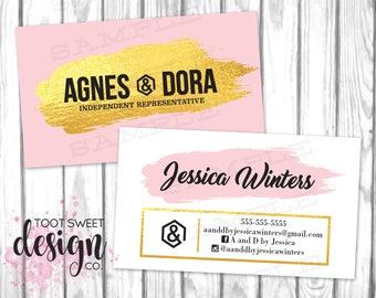Agnes and Dora Business Cards, Agnes & Dora Marketing / Branding Business Card, Pink Gold Foil, Custom Personalized Agnes Dora, PRINTABLE