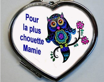 "OWL Pocket mirror heart shaped ""for the coolest Grandma"""