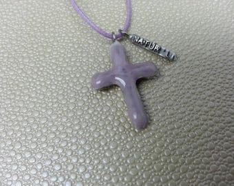 Purple ceramic cross pendant necklace