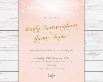 Wedding invitations - Nightglow design, personalised, customisable and pre-printed with your guests names