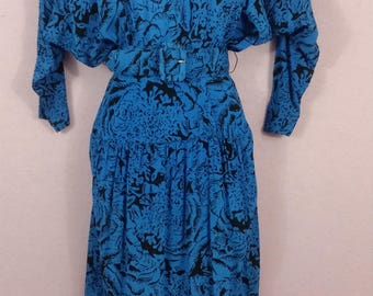 Carol Anderson California blue and black floral print dress.