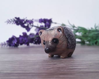 Hedgehog miniature handmade hand painted polymer clay figurine totem sculpture ornament