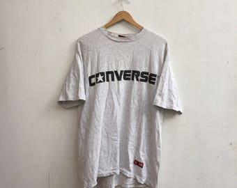 Vintage 90s CONVERSE All Star Shirt Big Logo Converse Spellout Chuck Tylor T-Shirt Large Size #403