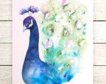 Original Peacock painting-original painting-watercolor painting-bird painting-colorful art-wall art-nature illustration-animal painting-art