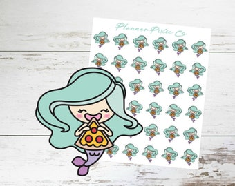 Mermaid Planner Stickers // Pizza Night // Cheat Day