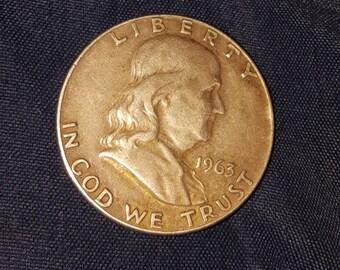 1963 Silver Benjamin Franklin Half Dollar