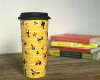 Striped Floral Travel Mug