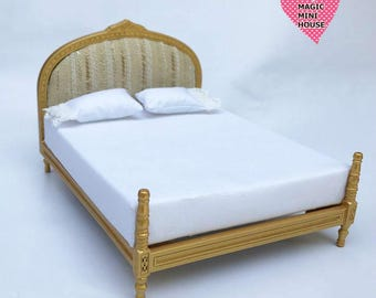 1/12 Miniature Gold Double Bed