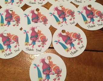 12 Trolls Party Favor Thank You Tags (can be personalized)