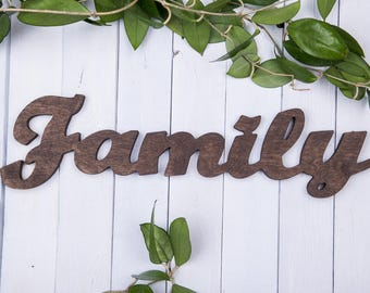 stained family sign, wooden family sign, home decor, stained rustic decor, wooden vintage decor, stained wooden decor, family wall sign
