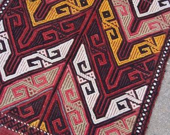 "3'2""x1'8"" Black Red and Yellow Vintage Turkish Kilim Small Rug"