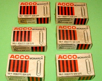 ACCO Monarch Bronzette Gem clip paper clips NOS old store stock in original boxes arts crafts or collectible movie prop