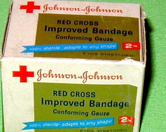 """Red Cross 2"""" wide vintage gauze bandage now in original box never used old store stock medical collectible"""