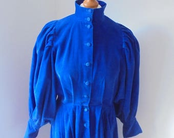 Droopy and Browns By Angela Holmes UK 12/14  Corduroy Blue Dress /Edwardian/Victorian/Boho chic/Prairie dress.70's 80's dress