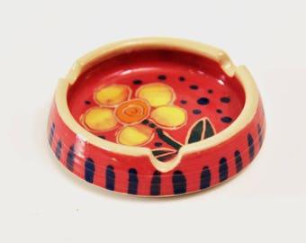 porcelain ashtray, ceramic ashtray, pottery ashtray, flower ashtray