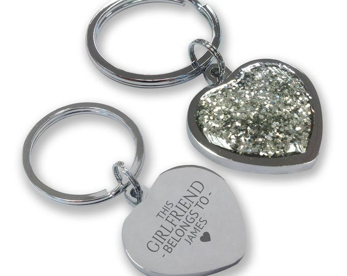 Personalised engraved This GIRLFRIEND belongs to keyring gift, glittery bling heart shaped keyring - GHE-B6