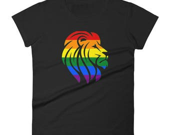Rainbow Pride Lion Women's short sleeve t-shirt lgbt lgbtqipa lgbtq mogai pride flag