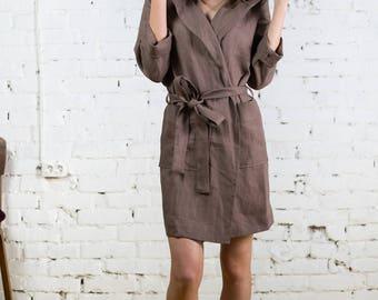 Linen bathrobe, linen robe, bath robe, robe with hood, woman linen robe, bath linen, kimono bath robe,white linen robe/LW0002