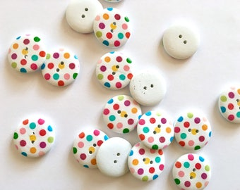 10 polka dots colourful buttons, wooden