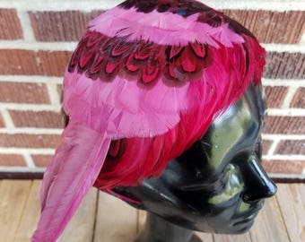 1950s Asymmetrical Pink and Red Feather Headband Hat, Hot Pink Feather Hat, Vintage Pink and Red Headband
