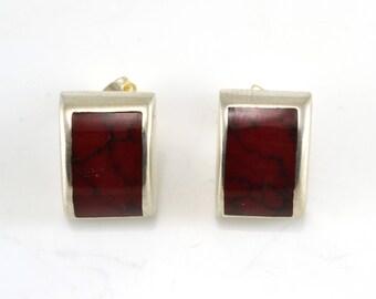 Red Agate Earrings, Stud Earrings, Sterling Earrings, Vintage Earrings