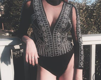 The Lone Rider Black Studded Mesh One Piece Body Suit.