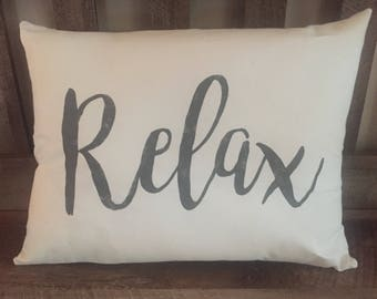 Relax Hand Painted Decorative Throw Pillow-Home Decor-Housewarming-Gift