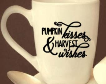 fall/coffee/cup/pumpkin/kisses/harvest/wishes/gift/fall/mug/halloween