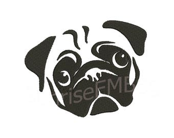 11 Sizes**Pug Dog2 Embroidery design- 8 formats machine embroidery design - Instant Download machine embroidery pattern