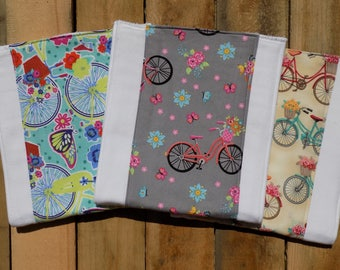 Set of 3 Vintage Bicycle Burp Cloths - Baby Shower Gift