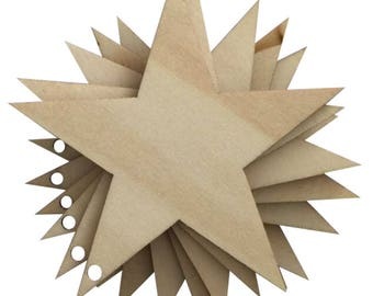 25 Pcs Laser Cut Wooden Stars with Holes