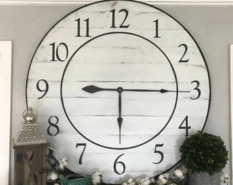 Big Wall Clock Rustic Wall Clock Large Wooden Wall Clock Big Clock Oversized Wall Clock Handmade Wooden Clock Big Clock