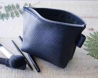 Black Genuine Leather pouch/ make up brushes bag/ cosmetic pouch