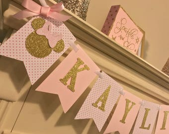 Pink and Gold Minnie Mouse Birthday Party , First Birthday Decoration, Gold Glitter, Party supplies, First Birthday Girl