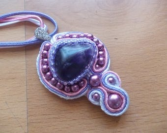 pendant, Amethyst, pink, purple soutache Center bail with Rhinestones spacers, Choker, white soutache assorite