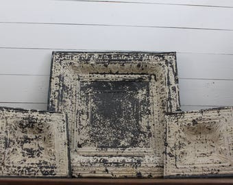 Architectural Salvage Ceiling Tiles, Ornate Metal, Farmhouse Decor, Victorian, Wall decor